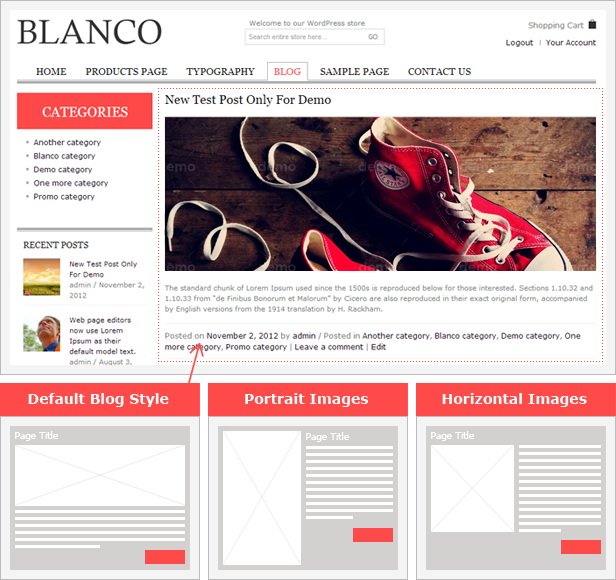 blog style - Blanco - Responsive WordPress Woo/E-Commerce Theme