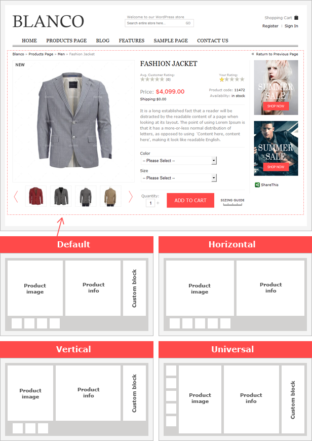 product page style - Blanco - Responsive WordPress Woo/E-Commerce Theme